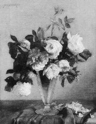 Edith Augusta James (British, 1857-1898) A still life of pink roses in a vase signed and dated 90 ul, oil on canvas 36 x 44.5cm (141/8 x 171/2in)