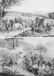 Albert Von Escher (Swiss, 1839-1905) Departure of the Artillery in the Kappel War of 1531 signed V. Escher lr, watercolour 29 x 41.5cm (111/2 x 163/8in) (unframed) with another watercolour of a battle scene by the same hand (2) (unframed)