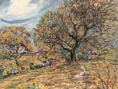 Rowland Henry Hill (1873-1952) A SUMMER LANDSCAPE WITH CHILDREN WALKING BENEATH TREES oil on board 46 x 61cm Provenance: With Phillips & Sons, 19 West Street, Marlow, Bucks