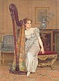 Charles Green R.I. (1840-1898) AN INTERIOR SCENE WITH A YOUNG LADY SEATED BESIDE A HARP signed and dated 1891, pencil and watercolour 32.5 x 24cm, Charles  Green, Click for value