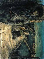 John Minton (1917-1957) BLITZED CITY WITH SELF-PORTRAIT signed, dated Oct 1941 and inscribed ``For