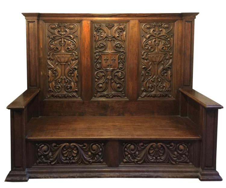 Antique French with Fleur De Lis Carving Bench