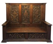 Antique French with Fleur De Lis Carving Bench