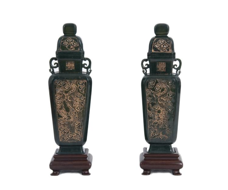 Pair of Chinese Carved Spinach Jade Urns