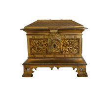 Antique Gilt Bronze Gothic Style Lidded Box