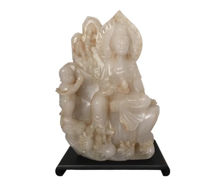 Chinese jade Quan Yin figural group