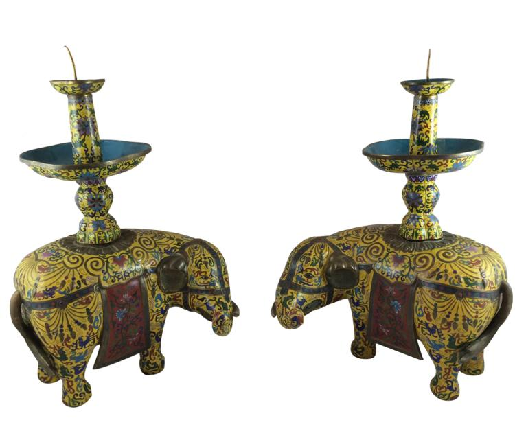 Antique Chinese Cloisonné Elephants
