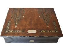 Antique Lap Desk with Ebony Wood Inlay