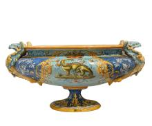 Antique French Hand-Painted Ceramic Centerpiece