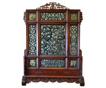 Antique Chinese Jade Table Screen with Dragons