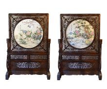Rare Pair of Extremely Large Chinese Carved Wood and Porcelain Table Screens