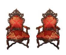 20th Century Grand Pair of Baroque Style Armchairs Chairs