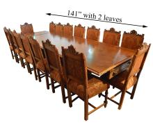 Very Large 19th Century Italian Hand-Carved Dining Set with 18 Chairs