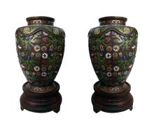 Commanding Pair of Large Antique Japanese Bronze Champlevé Urns on Wood Stand