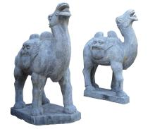 Large Pair of Chinese Carved Stone Bactrian Camels