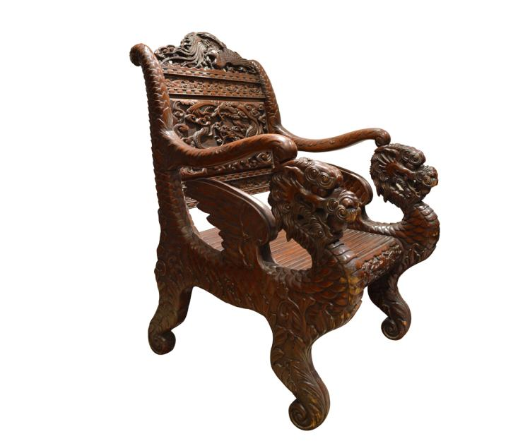Japanese Carved Wood Dragon Chair
