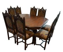 Antique Gothic Style Dining Table with Eight Chairs with Three Leafs