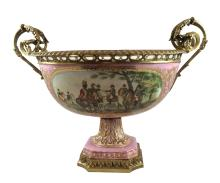 Serves Style Gilt Bronze Hand-Painted Porcelain Centerpiece