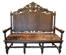 Antique European Gothic Style Hand-Carved Bench
