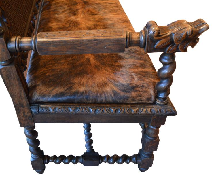 Antique european gothic style hand carved bench