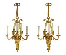Pair of Large French Gilt Bronze Five-Arm Louis XVI Style Wall Sconces