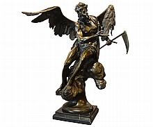 Signed Bronze Male Angelic Figure on Marble Base