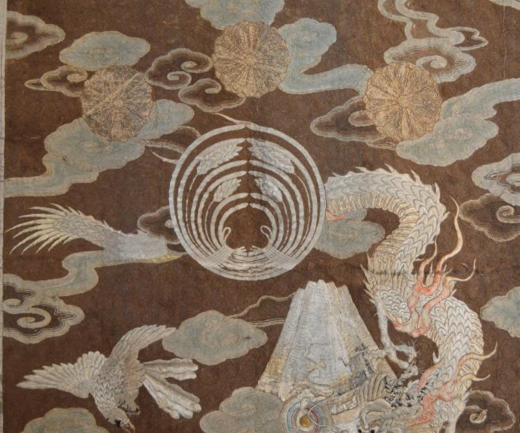 Large Antique Japanese Silk Embroidery Featuring Dragons In