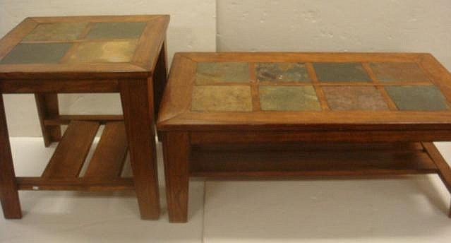 Sold Price Walnut And Slate Top Coffee And End Tables 26 Invalid Date Est