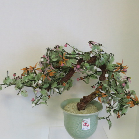 Sold Price Pair Of Oriental Glass Stone Flowering Bonsai Trees Invalid Date Est