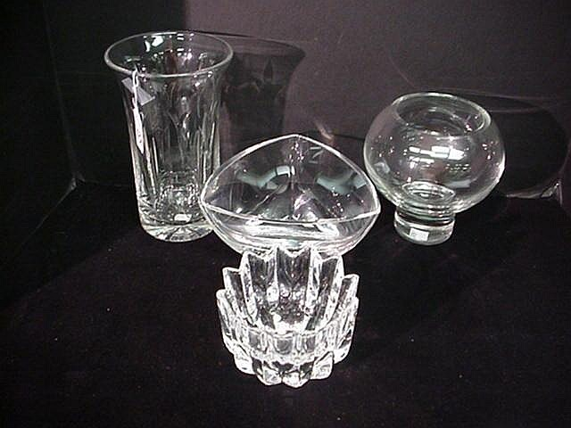 4 Crystal Vases And Bowls Orrifers Stuart 3t