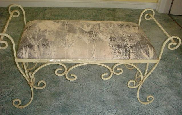Superb Wrought Iron Window Bench With Upholstered Seat Ibusinesslaw Wood Chair Design Ideas Ibusinesslaworg