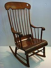 MID 19TH CENTURY BOSTON STYLE Pine Rocker: