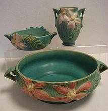 Two ROSEVILLE CLEMATIS Bowls and Vase: