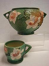 ROSEVILLE MAGNOLIA Cup and Double Handled Bowl: