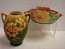 ROSEVILLE PEONY Bowl and Vase: