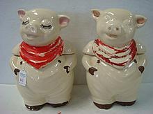 Two SHAWNEE Smiley Pig Cookie Jars: