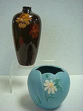ROSEVILLE Rozane Vase and WELLER Flower Bowl: