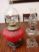 19th Century Ruby and Clear Glass Oil Lamps: