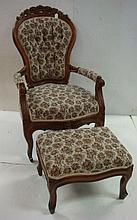 LANE'S WALNUT Carved Parlor Chair and Footstool: