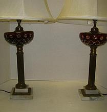 Pair of Cut to Clear Ruby Red Font Bohemian Lamps: