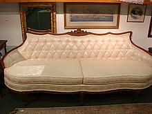 Walnut Framed Continental Two Cushion Sofa: