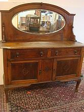 Oak Two Drawer, 2 Door Mirror Back Sideboard: