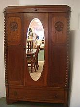 Late 19th C English Art Nouveau Oak Armoire:
