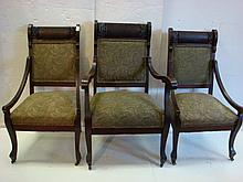 Set of Three Art Nouveau Mahogany Framed Chairs: