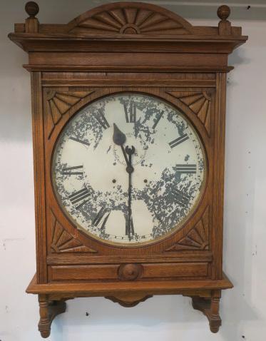 Large Seth Thomas Oak Case Train Station Clock