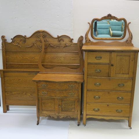 Three Piece Golden Oak Bedroom Set