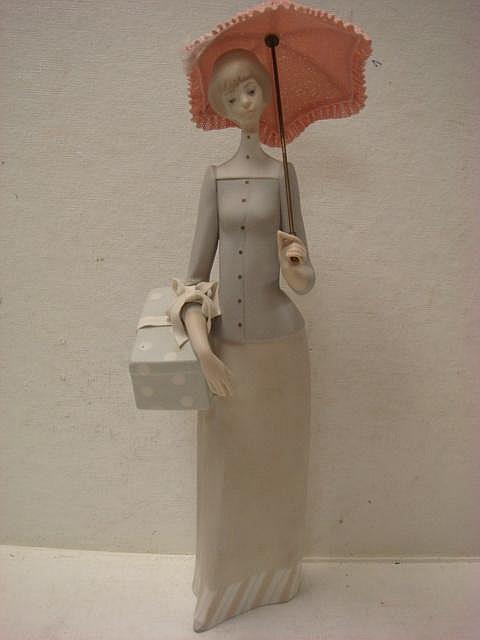 Lladro Dressmaker With Porcelain Lace Parasol