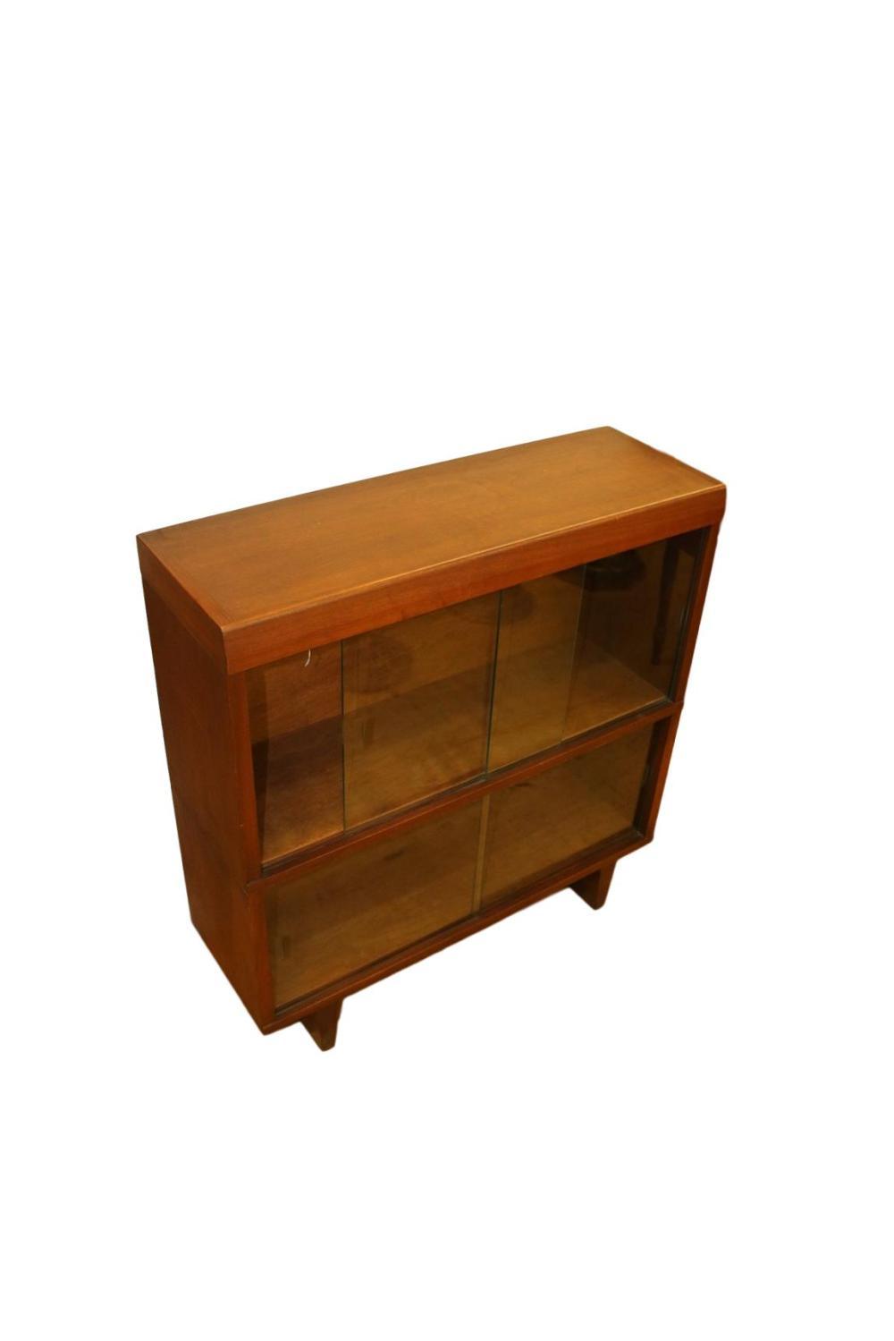 Danish Modern Walnut 2 Stack Barrister Bookcase