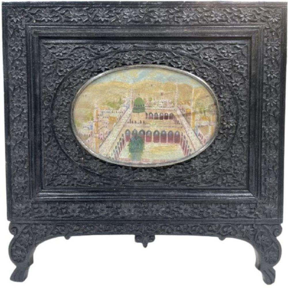 19th Century Ivorine Miniature In Indian Wooden Frames Depicting Medina
