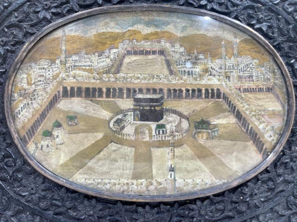 19th Century Ivorine Miniature In Indian Wooden Frames Depicting The Kaaba